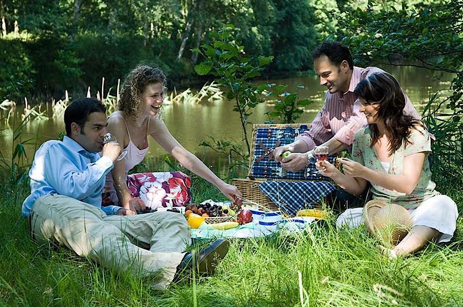 Picknick mit Freunden im Garten eines Ferienhauses in Graal-Müritz