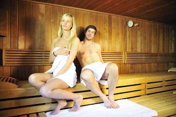 Blick in die Sauna im Wellnessbereich des Hotel Godewind